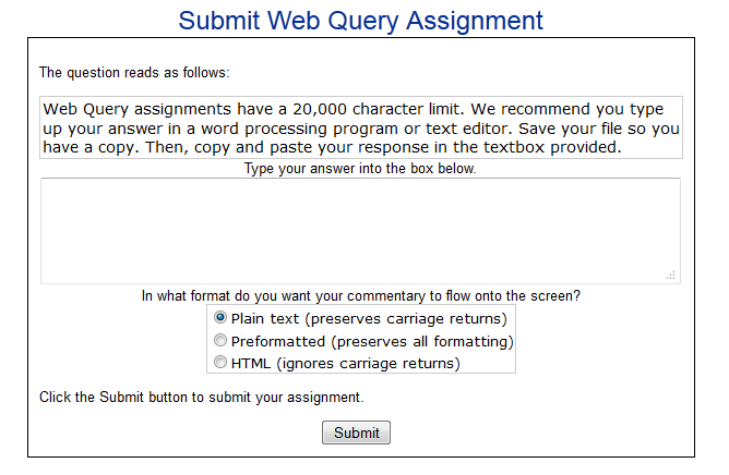 web query submission page
